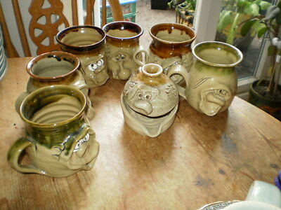Collection Of Ugly Pottery Wales - 6 Mugs & Tea Light Holder