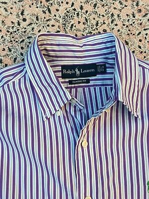 RALPH LAUREN  - Classic Fit - Purple-White - Striped - Button Cuff - Shirt - M