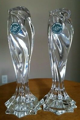 """2 - Lenox Fine Crystal Candle Holders Arctic Bloom Pattern 7-1/2"""" PRISTINE COND"""
