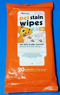 Petkin Pet Stain Wipes - 20 count 2 pack