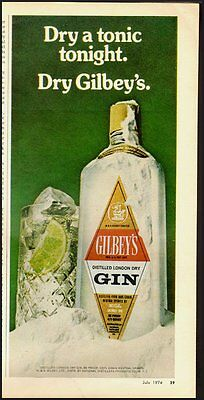 1974 Vintage ad for Gilbey's Distilled London Dry GIN/Ice/Lime (040113)