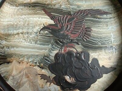 Antique Japanese Tray  signed hand painted Eagle  cloud pearl Black Laquer Tray,