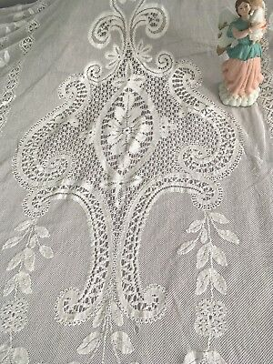 Antique Victorian Mixed Figural Lace & Embroidery Child's Bedspread