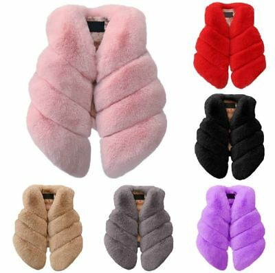 New Casual Soft Faux Fur Baby Girls Coat Winter Jacket Autumn Kids Clothes UK