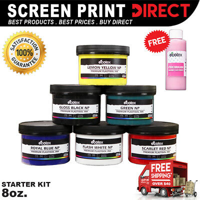 Ecotex PLASTISOL INK PRIMARY COLOR KIT - Screen Printing Ink Kit - 6 8oz Bottles