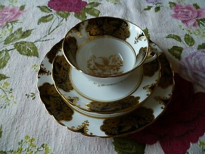 Lovely Vintage Tuscan English China Trio Tea Cup Saucer Black Gilded Birds 8987