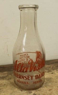 Vintage Quart Size Milk Bottle- Alta Vista Dairy, Indiana PA War Era