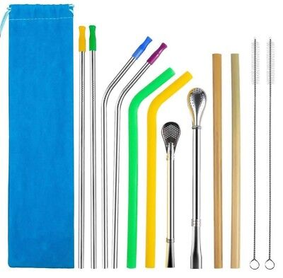 Reusable Drinking Straws Set ~ Stainless Steel, Bamboo, Silicone, Filter Spoon