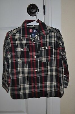 Chaps Toddler Boys Button Up Navy, Maroon, Cream Plaid Shirt, 3T