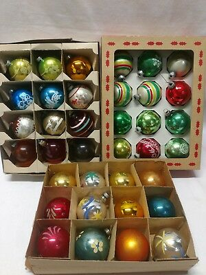 """Lot Of 36 Round 2"""" Vintage Shiny Brite Coby  Glass Christmas Ornaments Glitter"""