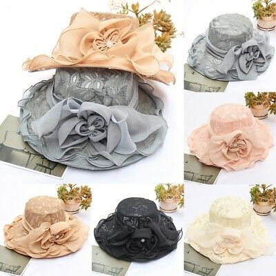 0bcee1a5a3c Vintage Spinning Women Girl Wide Brim Sun Hat Wedding Tea Party Church Cap  Lot