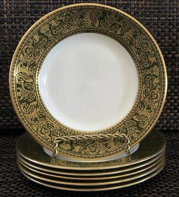 """Wedgwood W4170 FLORENTINE DARK GREEN & GOLD 6"""" BREAD AND BUTTER PLATES Set of 6"""