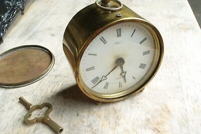 Antique Brass Cased Brevete French Drum Clock 8 Day Collet A Paris Key Pendulum