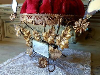 19thC Antique French Wedding / Mariage Gilt Toleware Floral Mirror Display Stand