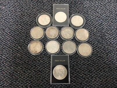 peace dollar lot of 12 Coins 90% Silver Various Dates