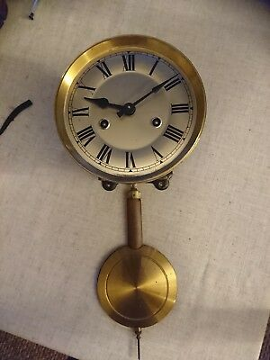 Antique clock movement with dial pendulum and frame full working order hands