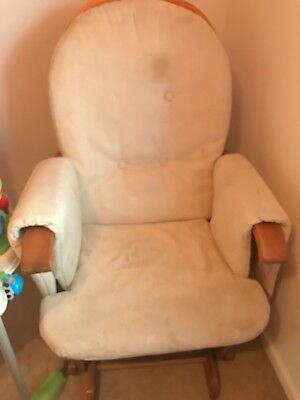 cream nursing chair, rocks in used condition