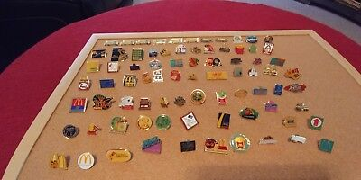 Vintage RARE McDonalds Employee Crew Manager Collectible Pins Lot Of 79.