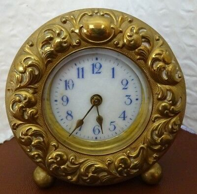 Antique / Vintage Small Brass Ornate Round Mantel Clock (Keeps Good Time)