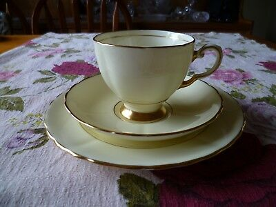 Lovely Vintage Tuscan English China Trio Tea Cup Saucer Pastel Yellow Harlequin