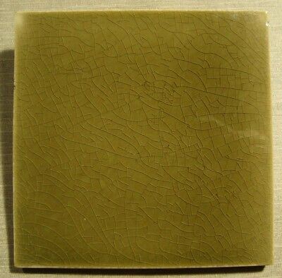 Brown - Olive Green Original period antique field tile 6x6 Art Nouveau Majolica