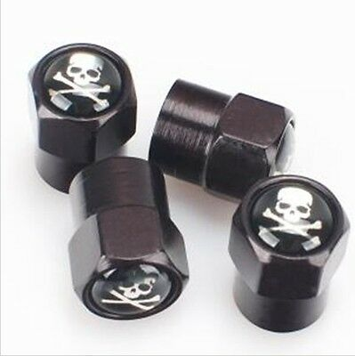 Skull Crossbones Pirate Black Wheel Tyre Car Valve Dust Caps x4 BMX RAT Dustcaps