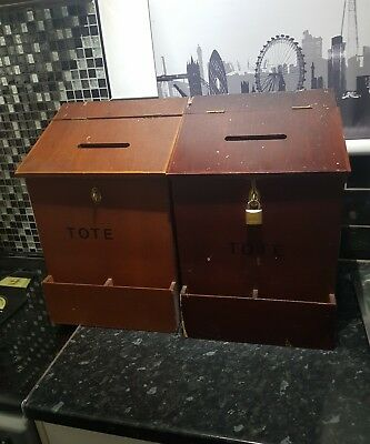OLD 70s VINTAGE WOODEN TOTE BOXES FROM EX SERVICE MANS CLUB