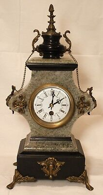 Vintage French Gilded Bronze Lion Head With Green Stone Mantle Clock