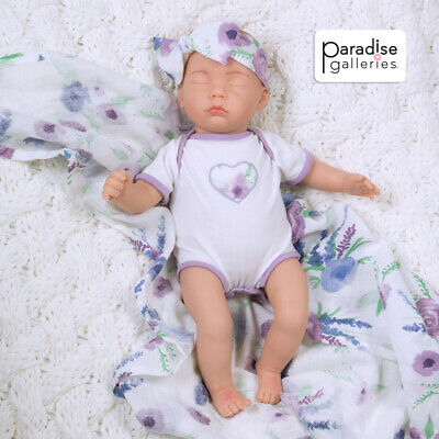 Bitsy Baby Bear Hugs Paradise Galleries Sleeping Tiny Reborn Baby Doll 12 inch