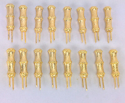 Set of 8 Pairs Metal Bamboo Gold Color Corn Cob Holders 16 Holders Total