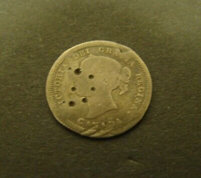 1858 CANADA 5 CENTS SILVER VG  Large Date   Canadian   Foreign Coin 5c