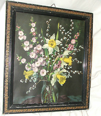 Vintage picture Antique picture floral, In beautiful carved wooden frame