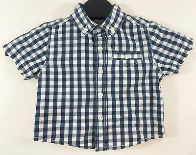 NEXT TRULY GREAT Baby Boys 3-6 Months Checked Shirt Blue & White 100% Cotton