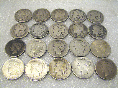 20 Pc Lot of Morgan and Peace Silver US Dollars  $1 Coins Old Circulated Roll