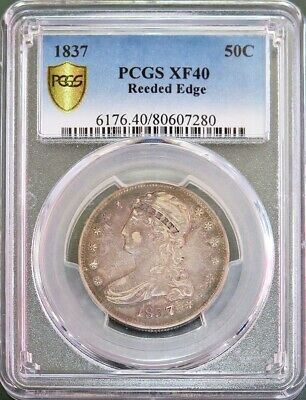 1837 Silver Capped Bust Reeded Edge Half Dollar Coin Pcgs Extremely Fine 40
