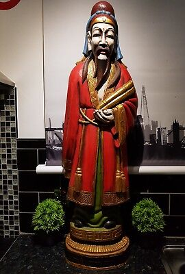 Rare Large 3.4 Feet Vintage Solid Wood Statue , Tibet Chinese Man