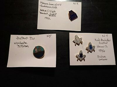 LOT OF 5 MASONIC PINS New York Very Good Condition Lot #9