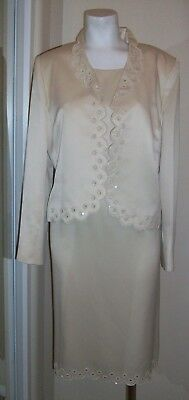 Kasper 2pce Church, special occasion jacket & dress suit with beads size 14
