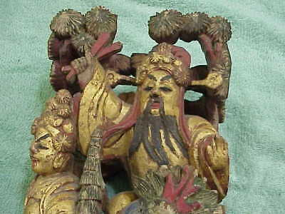 #387 Antique Chinese Carved Wood Figures Finial Sculpture Gold Gilt Cross Sticks