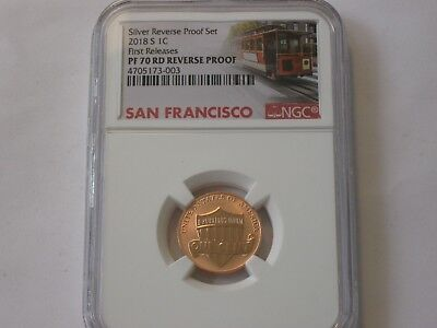 NGC graded PR 70 RD 2018 S SILVER REVERSE SET FIRST RELEASE  IN SAN FRAN LABEL