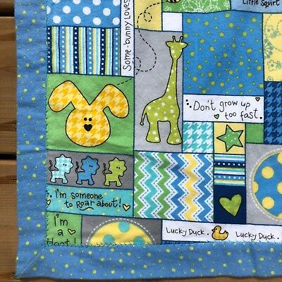 Blue Handmade 2 Sided Cute Animals Patchwork Flannelette Baby Blanket 39 x 50