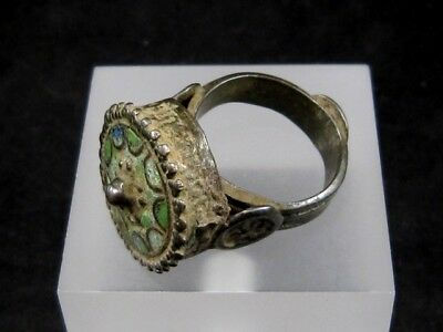 OUTSTANDING LATE BYZANTINE HUGE SILVER REX RING with ENAMEL ON TOP+++