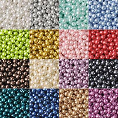 Wholesale Czech Glass Pearl Round Loose Beads 3/4/5/6/8mm Findings