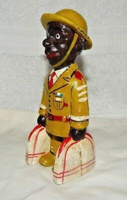 "BLACK Man Soldier Military Doughboy Cast Iron Bank 5 3/4"" US VETERAN Tuskegee"