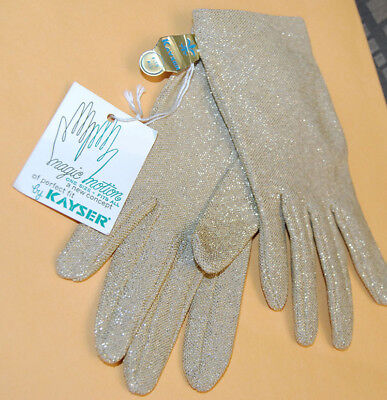 NEW VINTAGE KAYSER GOLD SPARKLE GLOVES made in USA 50's? ONE SIZE free ship TAG