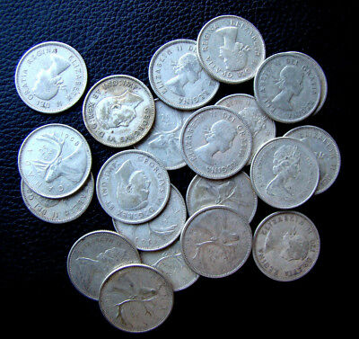 Lot of 20 Canada 80% Silver Quarters - Pre 1967 - 3 Troy Ounces of Silver!