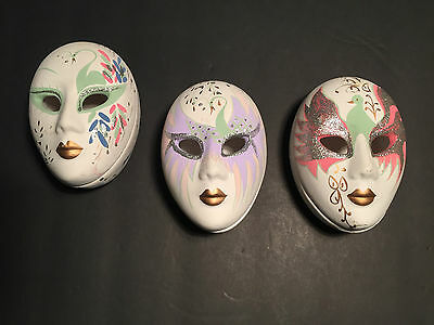VTG-Hand Decorated Mardi Gras Style Mask Ceramic-Trinket Boxes Set of 3
