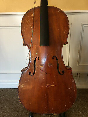 Old Antique Cello For Restoration, Full sz + Vintage Gewa Case