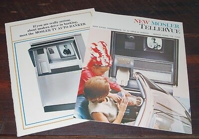 Two Brochures: Mosler TellerVue, Mosler TV Auto-Banker Teller Unit Advertisement