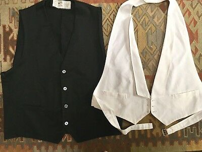VTG 30s 40s Two Vests White Pique for Tuxedo + Black Cotton for Uniform? sz 42